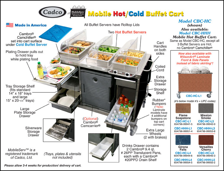 cadco cbc hc mobile hotcold buffet cart - Cold Buffet Server
